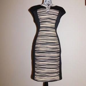 Workwear Form-fitting Tan&Black Stripe Midi Dress